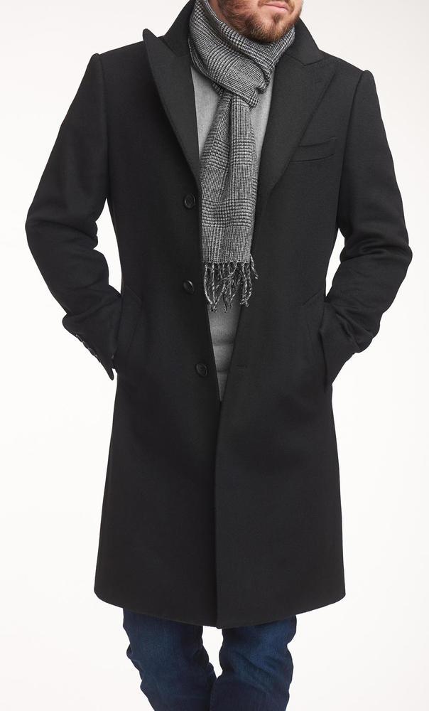 Overcoat Black Wool/Cashmere Blend Coat