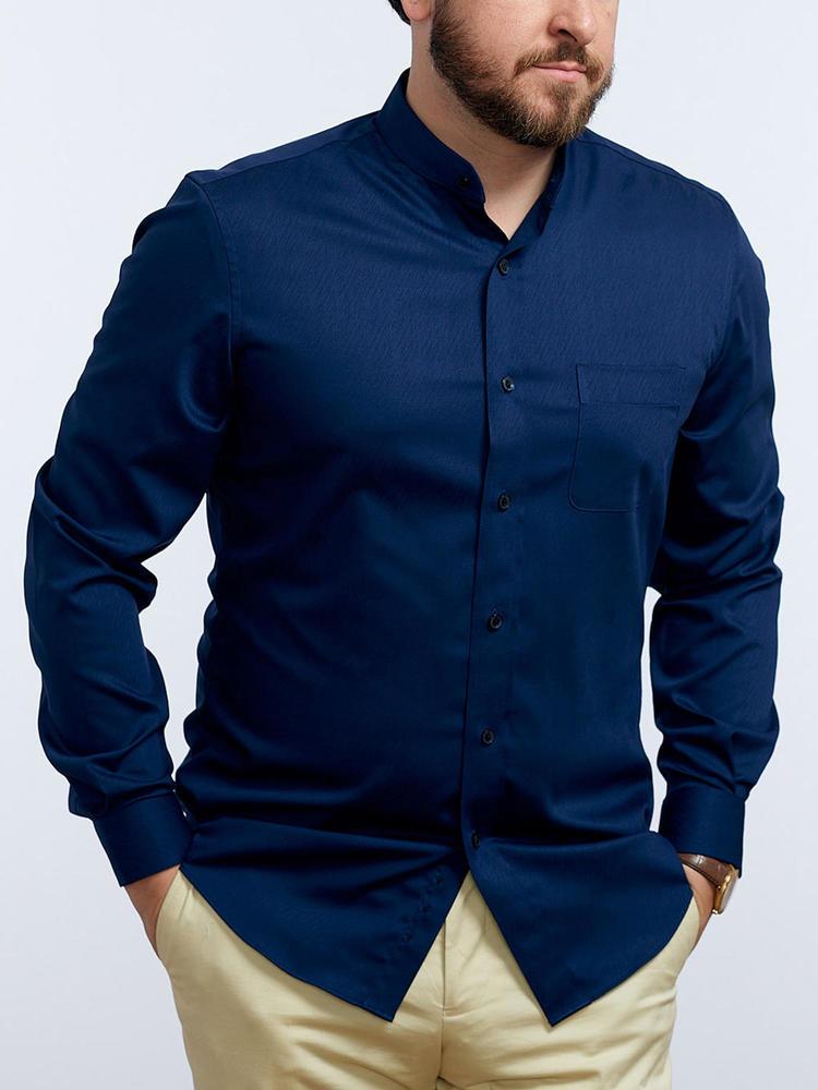 Chemise habillée Marine à col mao - Tenamo
