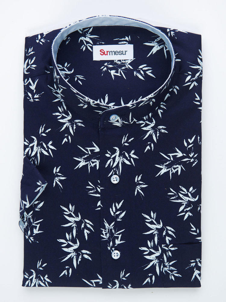 Sport shirt Navy Print w/ Short Sleeves - Walker