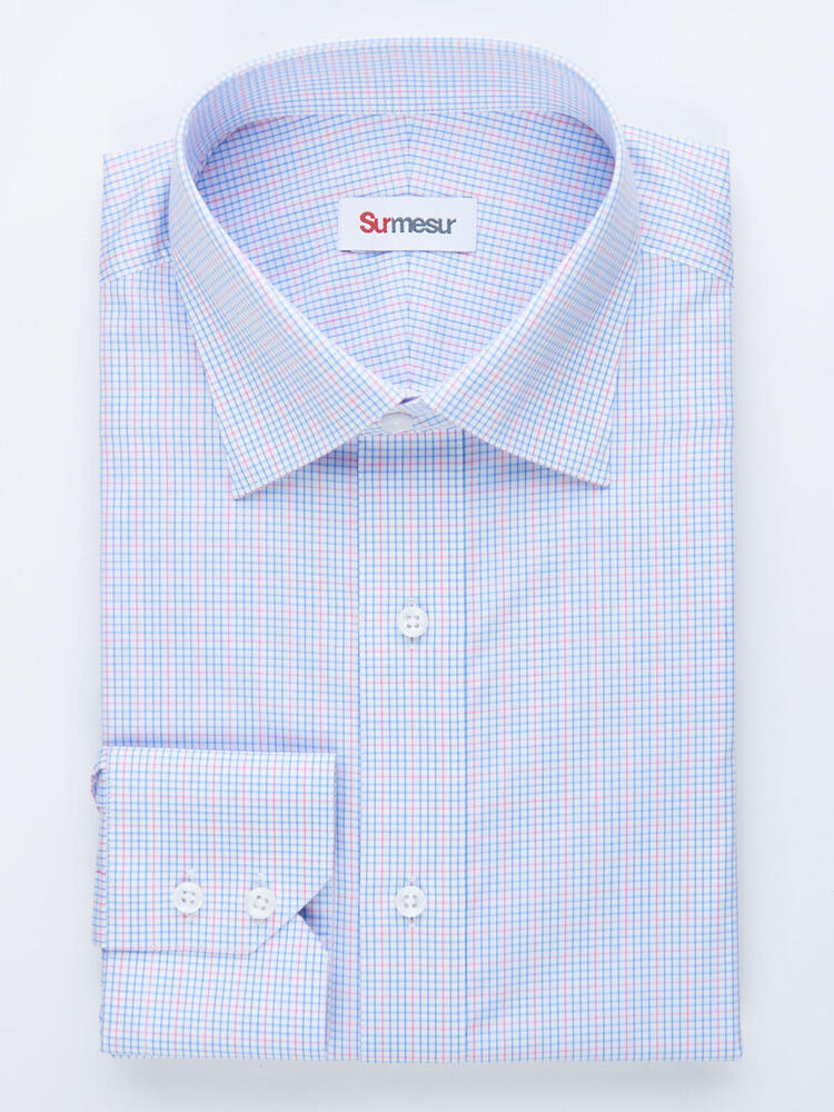 Chemise habillée Chemise à carreaux bleus et roses