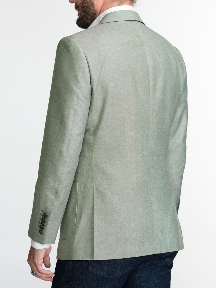 Jacket Green Linen-Cotton Blend - Gustavo