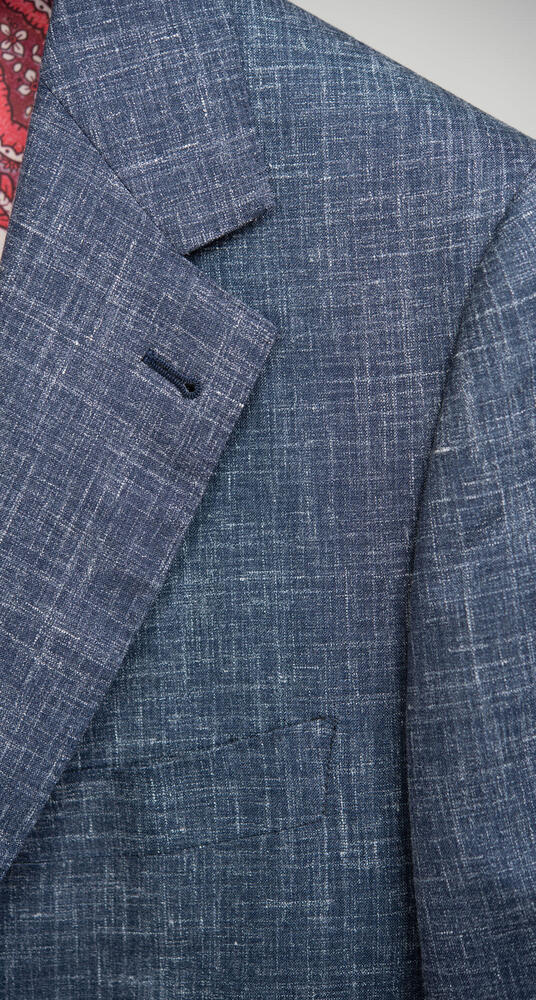 Veston Veston bleu foncé en mélange de laine, lin et soie
