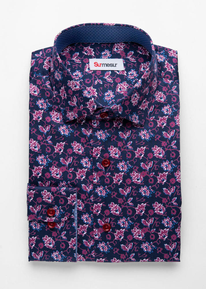 Sport shirt Navy and Red Floral Print Sport Shirt