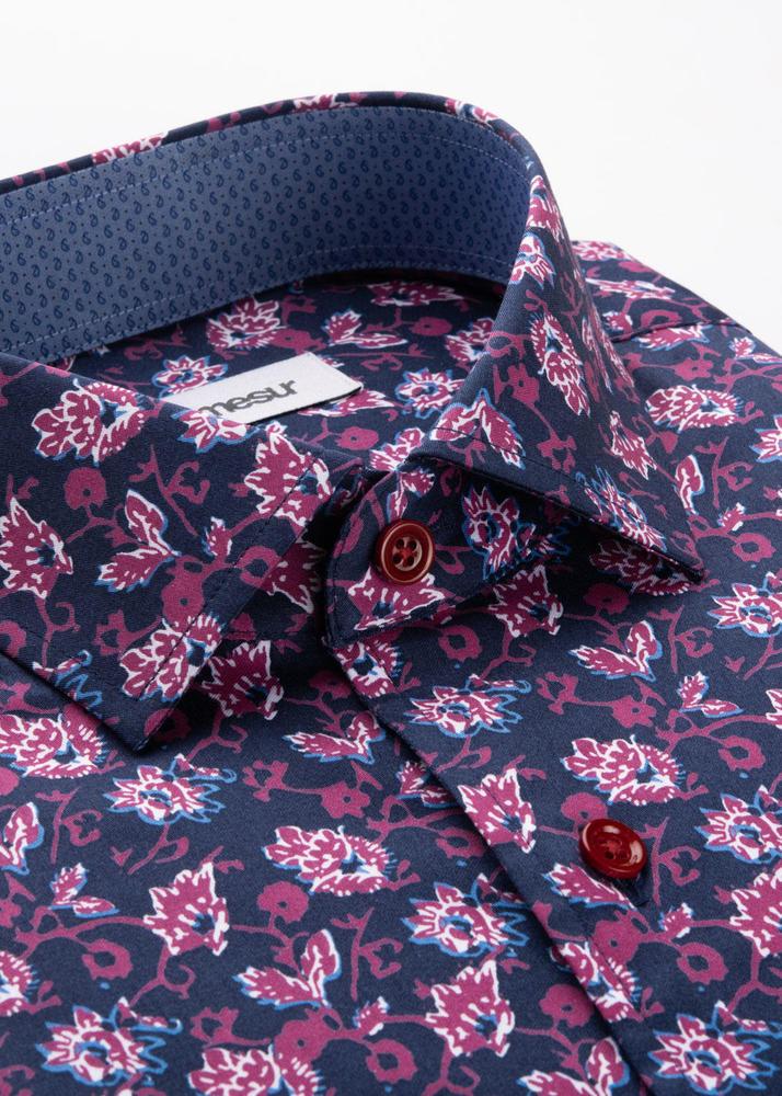 Sport shirt Navy and Red Floral Print Sport Shirt