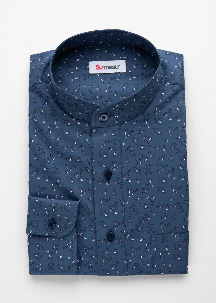 Sport shirt Blue Floral Sport Shirt with mao