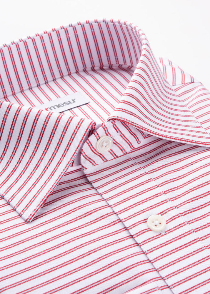 Dress shirt White Shirt w/ Horizontal Red Stripes