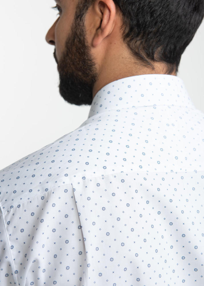 Dress shirt White & Navy Print Shirt