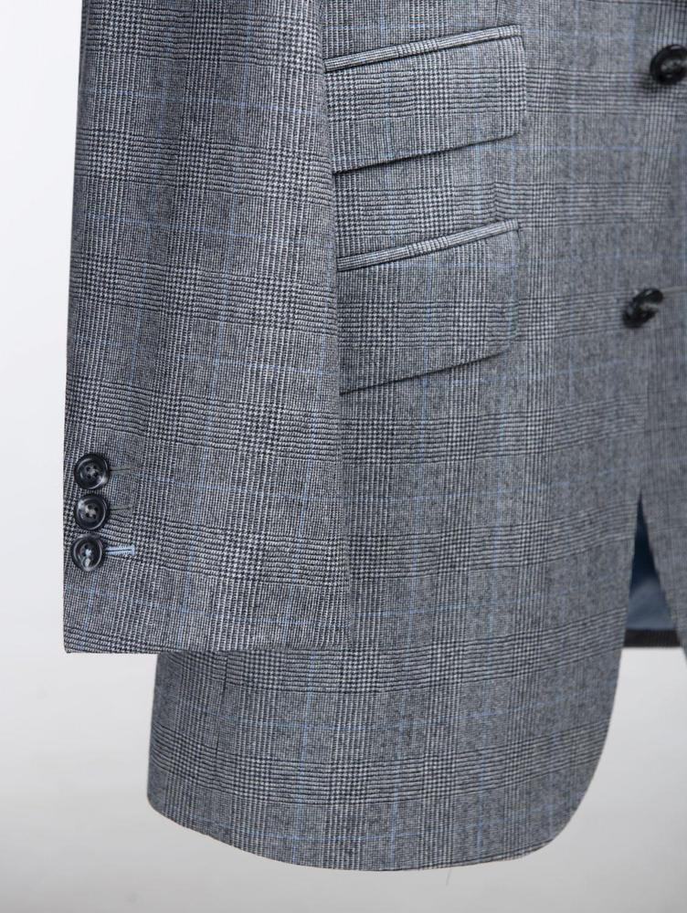 Veston Veston gris pâle et carreaux bleus en laine