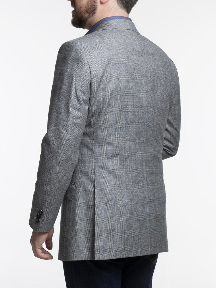 Jacket Light Grey and Blue Glen Plaid Wool Sports Jacket