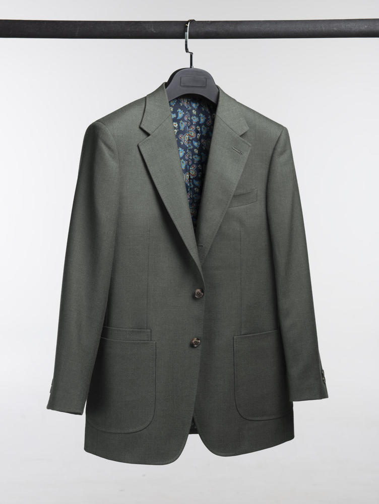 Jacket Solid Khaki Wool Sports Jacket