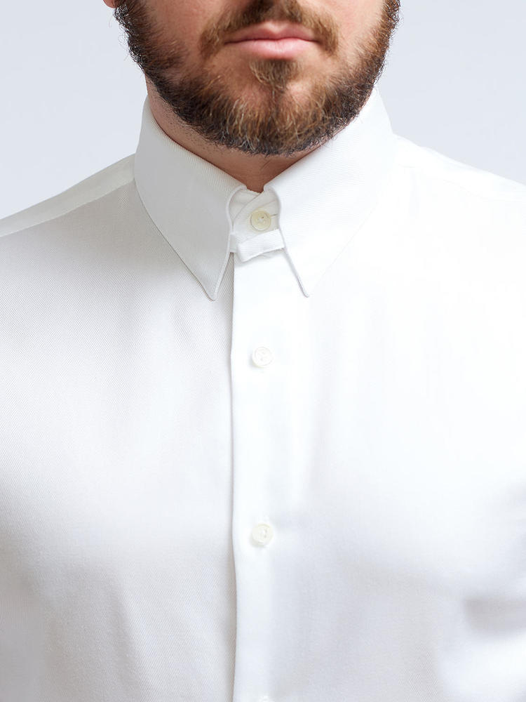 Dress shirt White Dress Shirt With Collar Tab