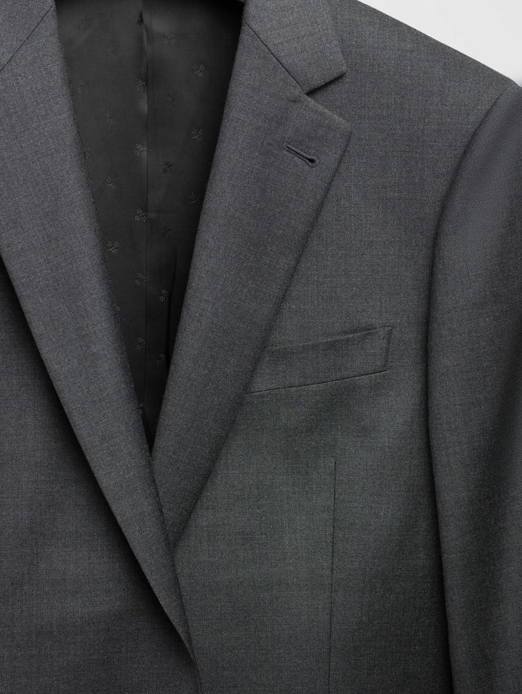 Suit Textured Grey Wool Suit