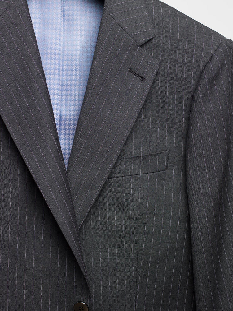 Suit Charcoal and Lavender Pinstripe Wool Suit