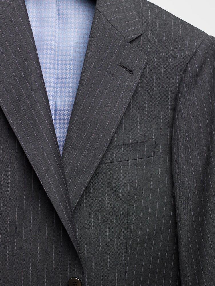 COMPLET Complet gris foncé à fines rayures lavande en laine