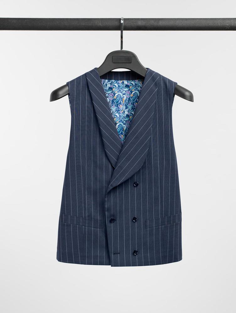 Waistcoat Navy Chalkstripe Wool Waistcoat