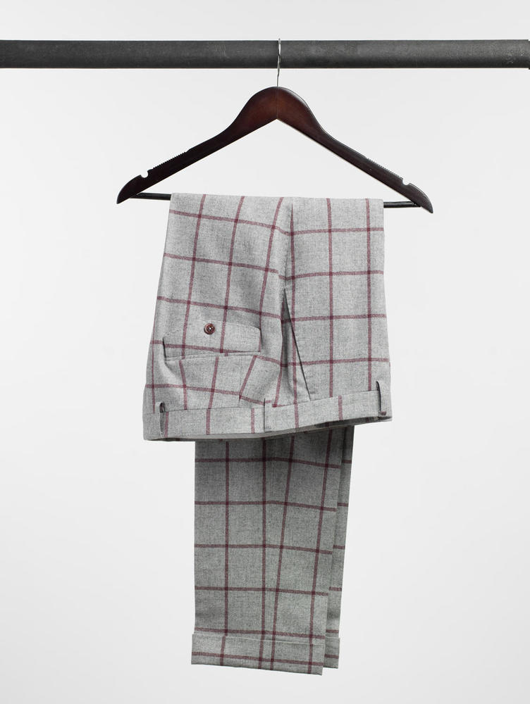 Trousers Light Grey With Burgundy Windowpane Wool Trousers