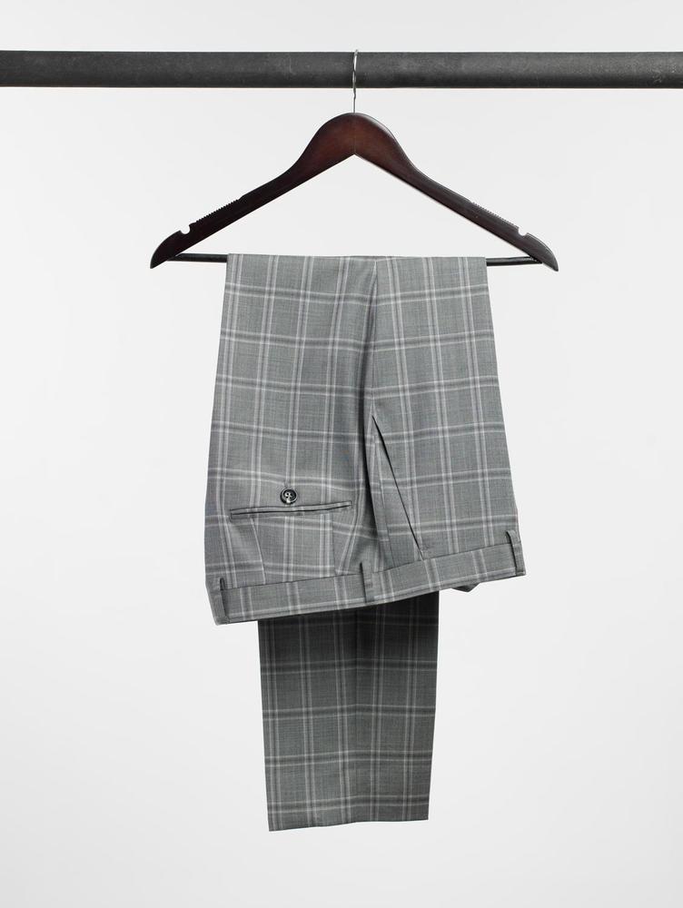 Trousers Cyber Grey Windowpane Wool Trousers
